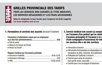 Facturation des frais accessoires et des services non assurés